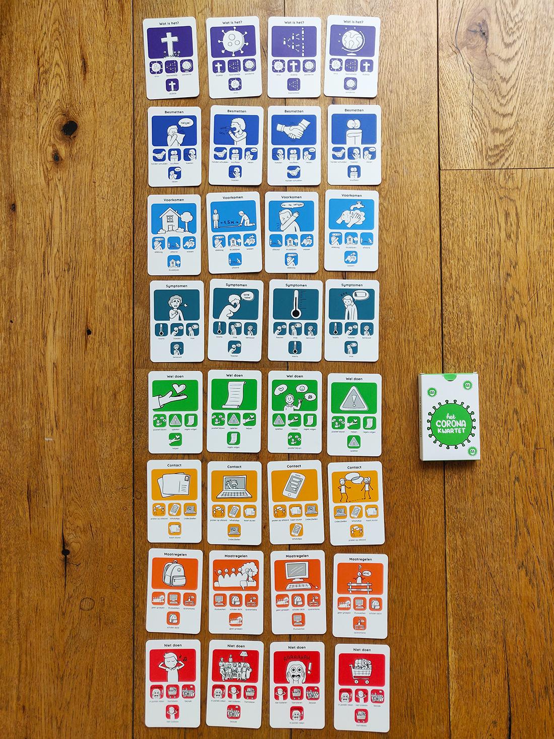Alle kaarten uit het non-profit Corona Kwartet spel van Sandra Mesman