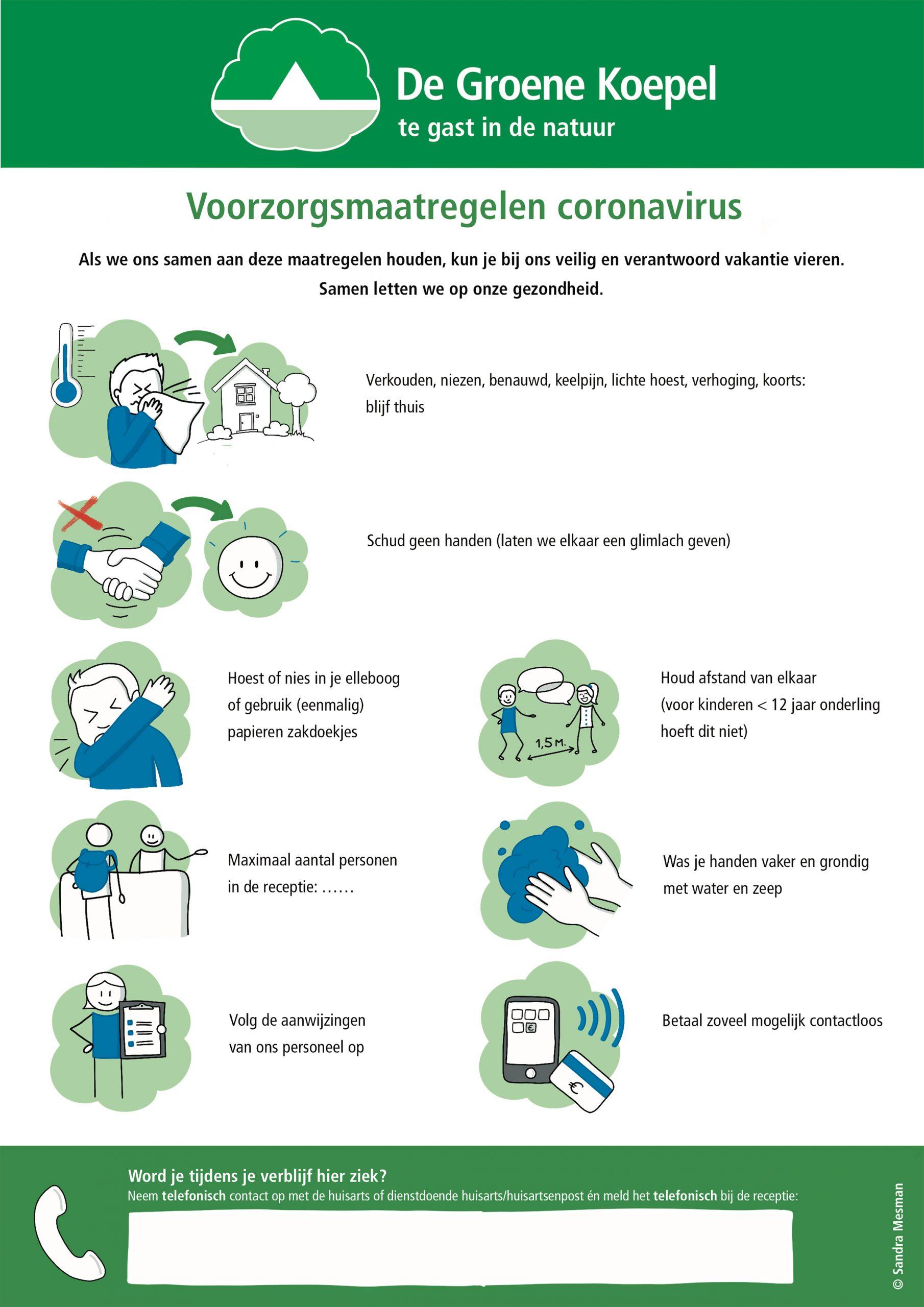 Visuele Affiches over Corona ter bevordering van veilig kamperen op de natuurcampings van Stichting De Groene Koepel