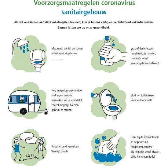 Visuele Affiches over Corona ter bevordering van veilig kamperen en gebruik van het sanitairgebouw op de natuurcampings van Stichting De Groene Koepel