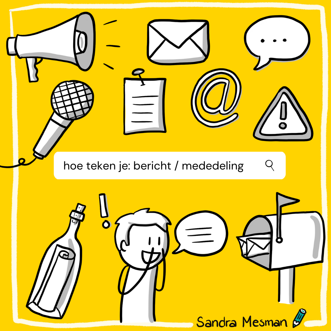 Hoe teken je bericht of mededeling? Sandra Mesman geeft voorbeelden voor je symbolenbibliotheek als je ook zakelijk tekenen wilt toepassen in je werk