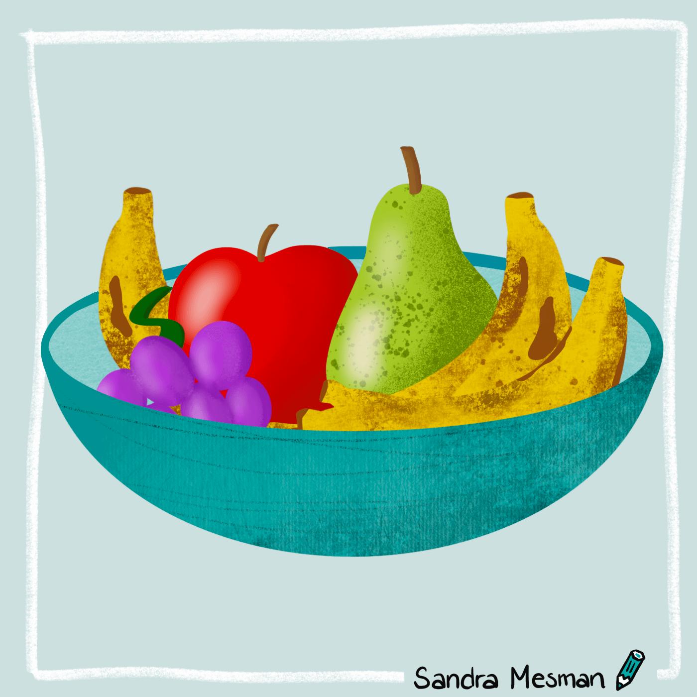Fruit tekening als huiswerk voor de online cursus procreate voor beginners van Gouden Lijntjes