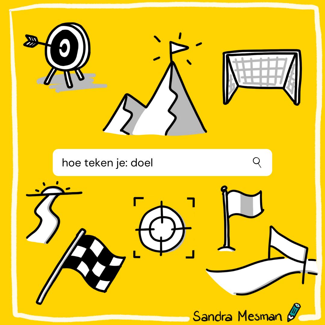 Hoe teken je doel? Sandra Mesman geeft voorbeelden voor je symbolenbibliotheek als je ook zakelijk tekenen wilt toepassen in je werk