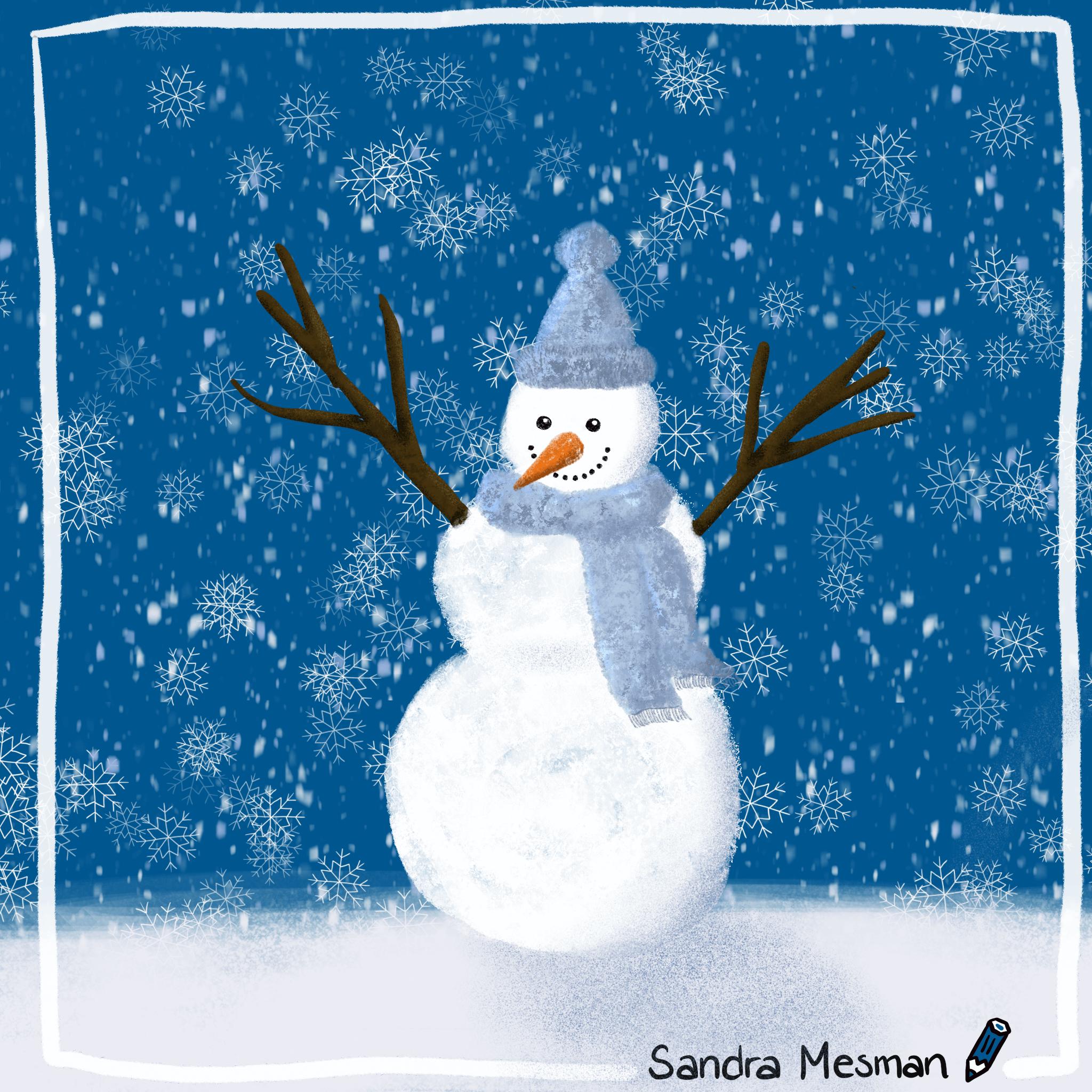 Sneeuwpop tekening als huiswerk voor de online cursus procreate voor gevorderden van Gouden Lijntjes