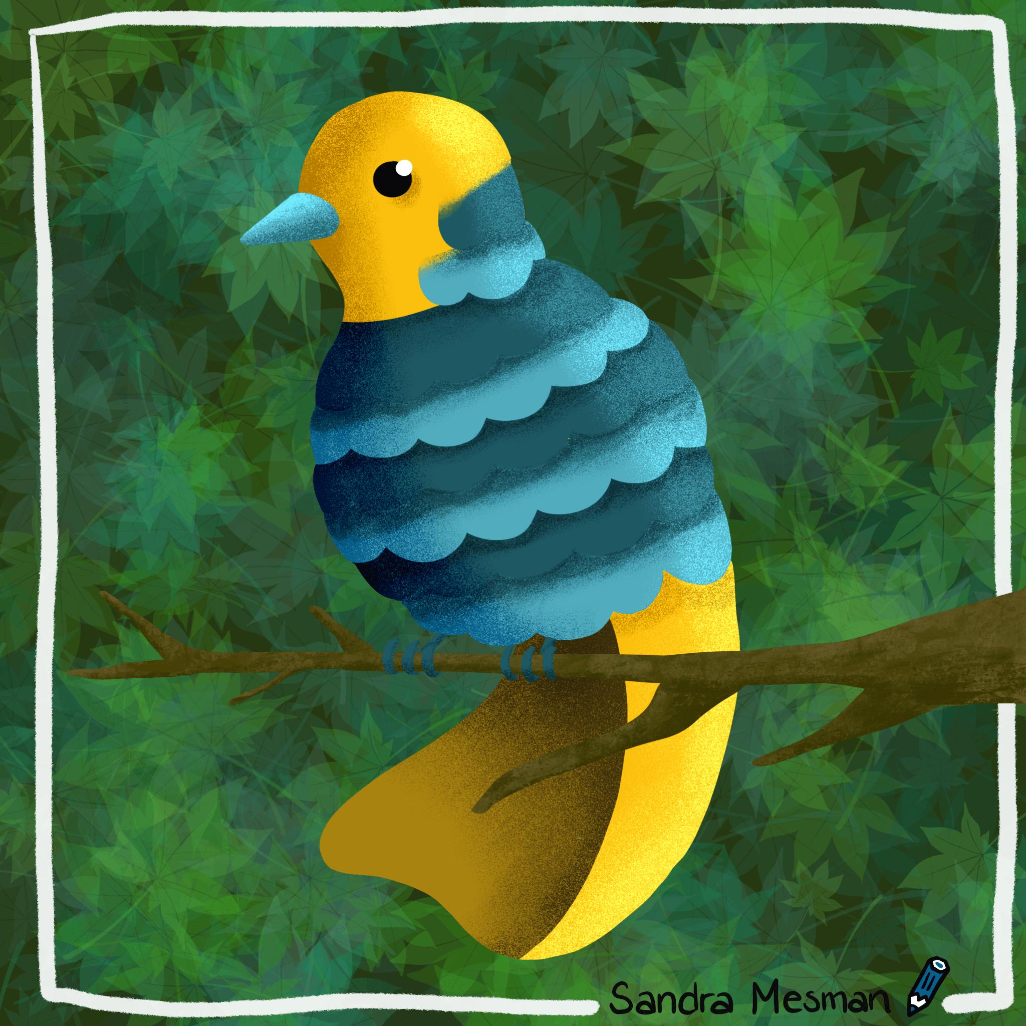 Vreemde vogel tekening als huiswerk voor de online cursus procreate voor gevorderden van Gouden Lijntjes