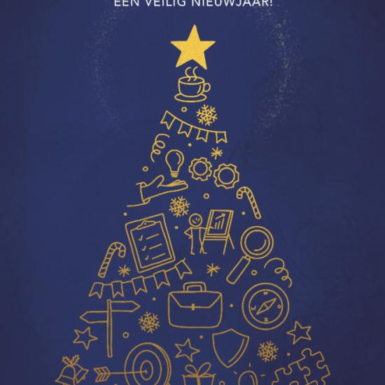 Voorkant kerstkaart met illustratie op maat voor adviesbureau voor veiligheid en handhaving