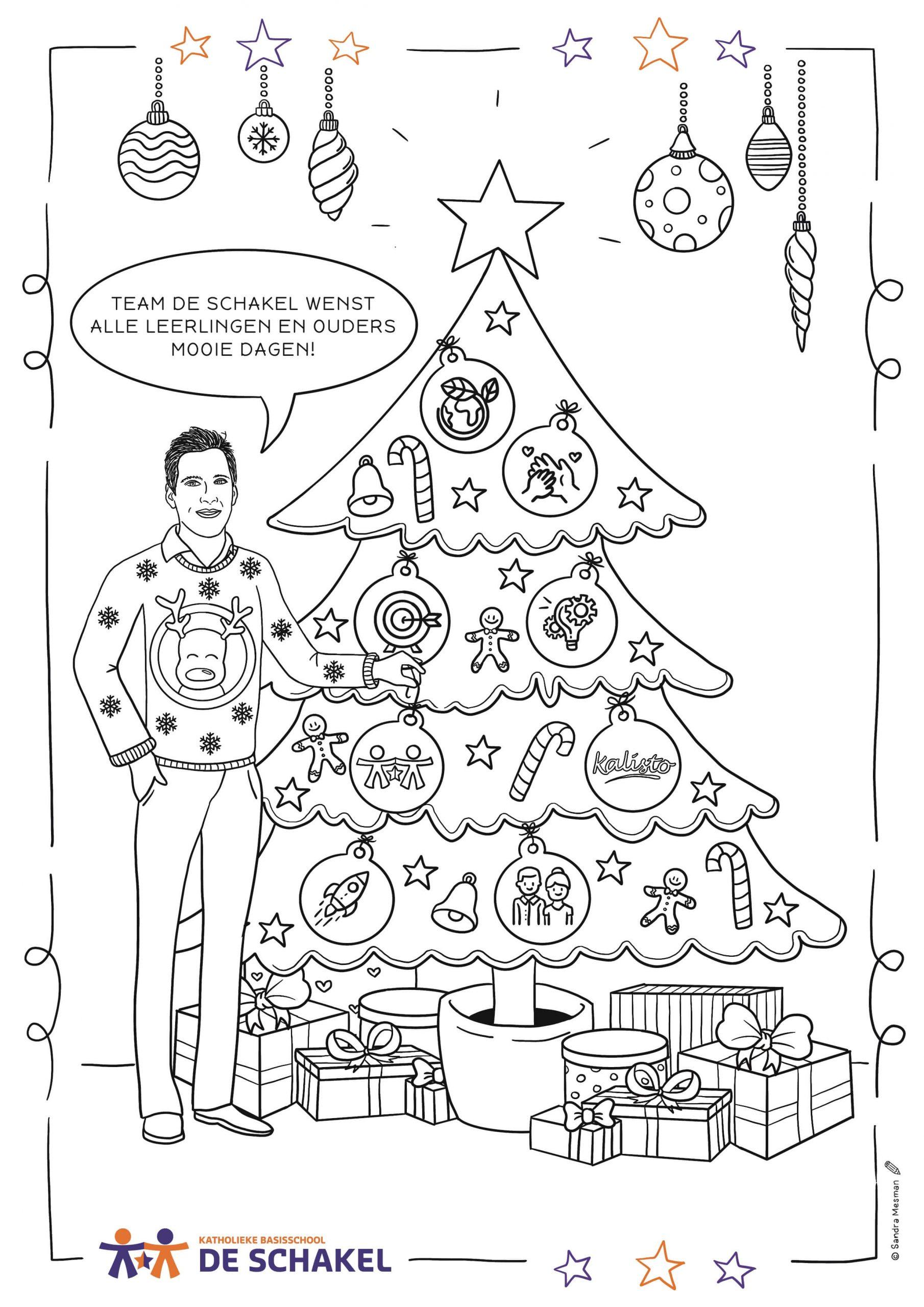 Kleurplaat op maat voor leerlingen van basisschool de Schakel in Woerden, voor kerstmis