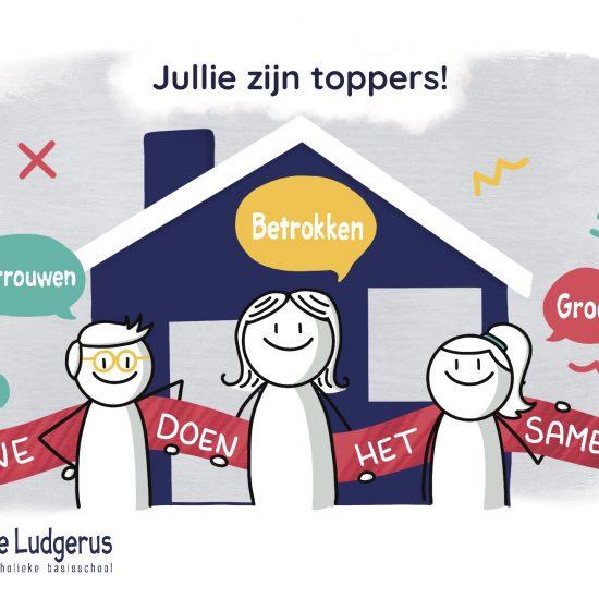 Illustratie op maat ansichtkaart tijdens corona voor basisschool De Ludgerus