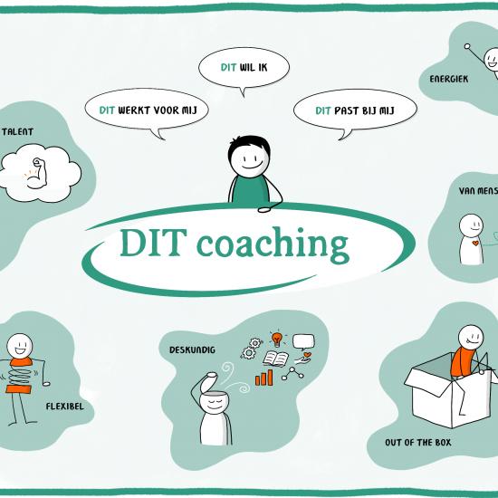 Praatplaat voor DIT Coaching uit Nijmegen - visualiseren van kernwaarden door zakelijk tekenaar Sandra Mesman